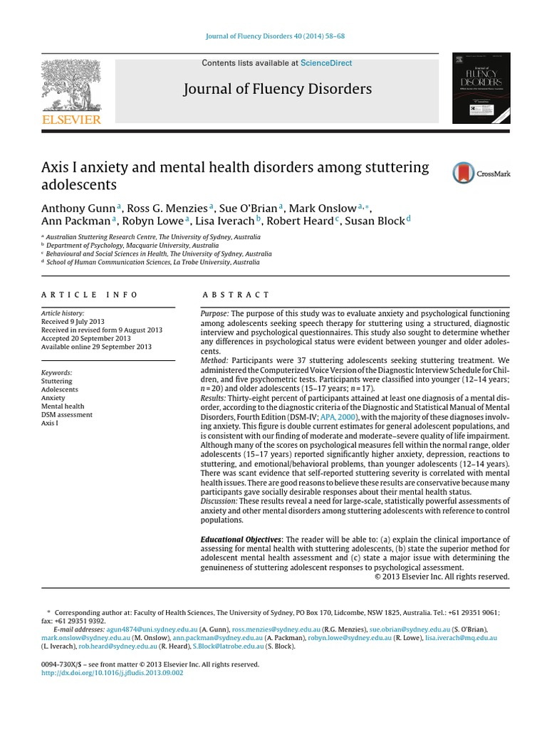 Anxiety And Mental Disorder In Relation To Anxiety Diagnostic And