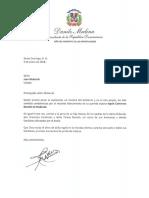Carta de condolencias del presidente Danilo Medina a Juan Mubarak por fallecimiento de su esposa, Ingrid Contreras Bonetti de Mubarak