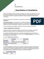 La Recherche Quantitative Et Qualitative
