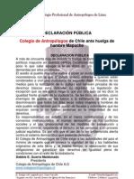 Colegio de Antropologos de Chile. Comunicado