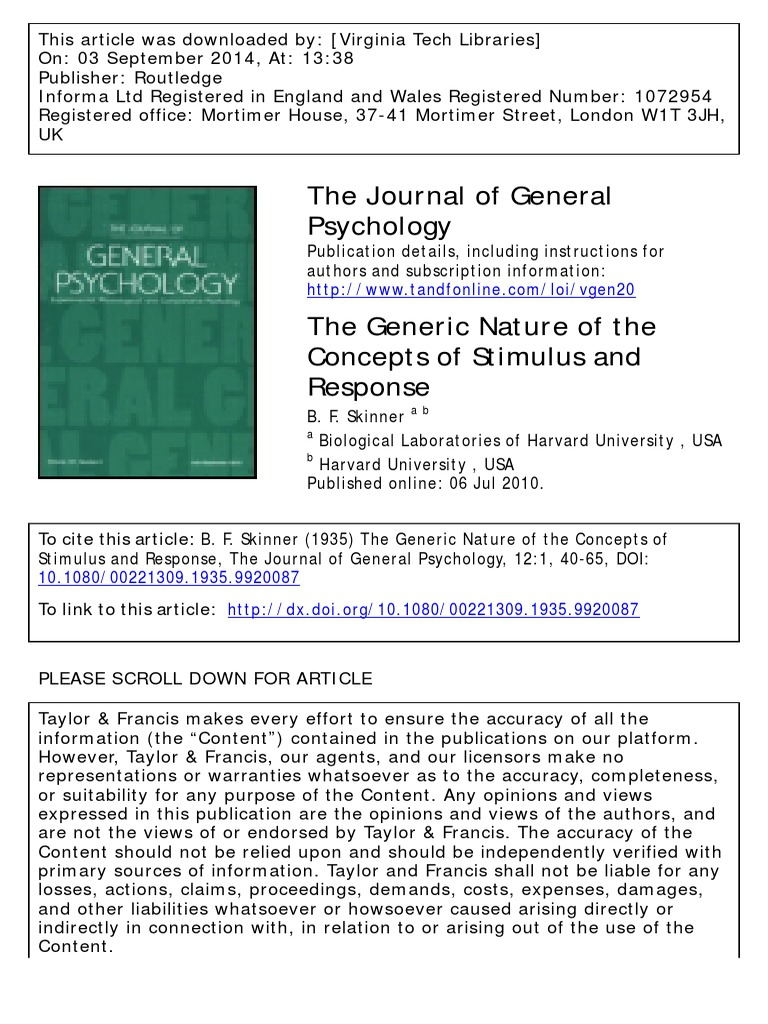 Skinner B F 1935 The Generic Nature Of The Concepts Of