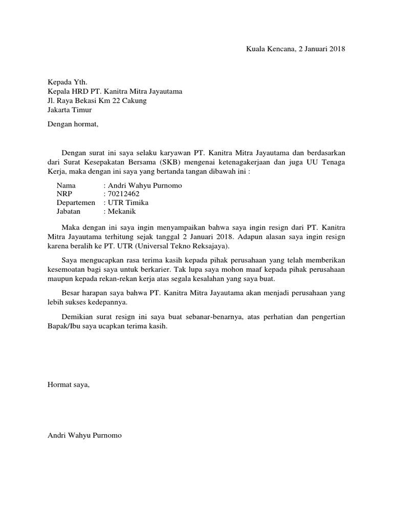 Contoh Surat Resign Pekerjaan Detil Gambar Online