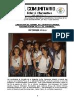 """EL COMUNITARIO - BOLETIN INFORMATIVO - SEPTIEMBRE 2010 - FUNDACIÓN """"CASA DE LA CULTURA LA MONTAÑA"""""""