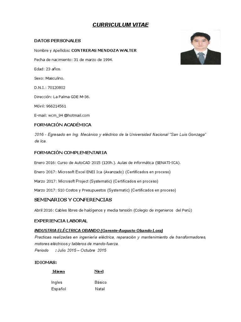 Walter Contreras Mendoza Curriculum Vitae