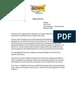 Media Statement- Spanish Fork UT