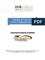 Cwm Detailed Course Curriculum