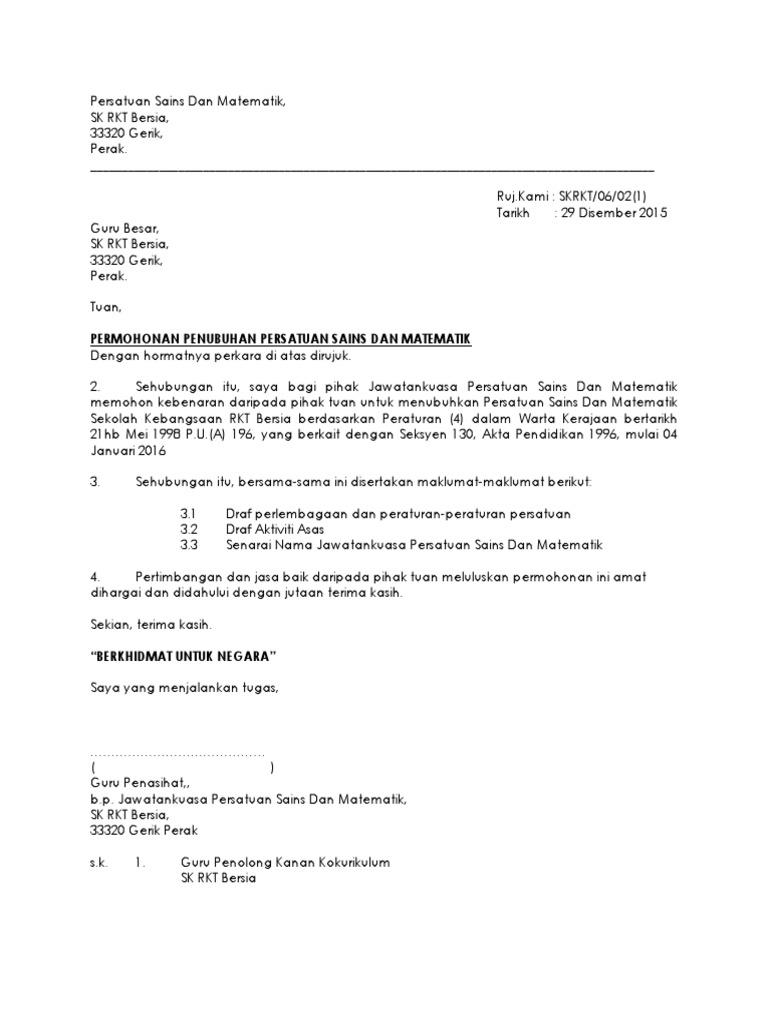 1 Surat Permohonan Penubuhan Persatuan Docx