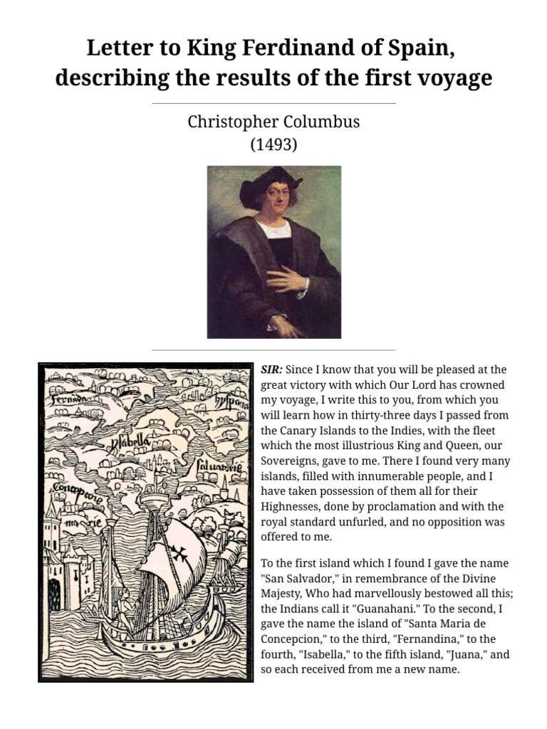 Christopher Columbus Letter To King Ferdinand.Letter To King Ferdinand Of Spain Voyages Of Christopher