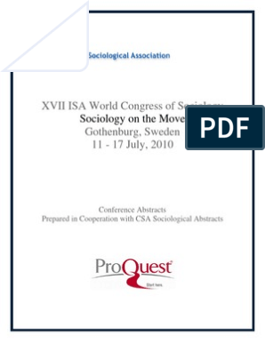 Isa Go Then Burg 2010 Book of Abstracts | Science | Sociology