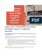 Importance of Demand Forecasting in Supply Chain