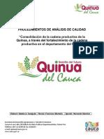 Procedimientos Análisis de Calidad Grano de quinua Colombia