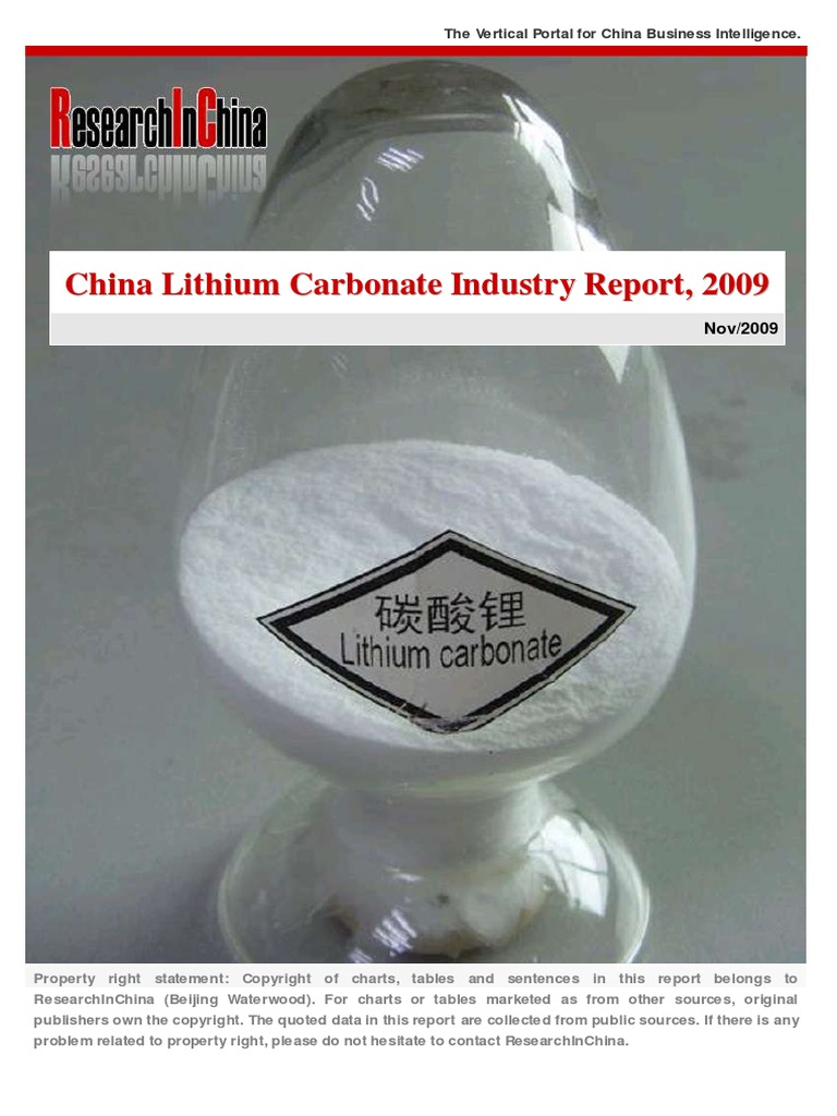 China Lithium Industry (2009) | Lithium | Chromium