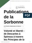 PRELORENTZOS Volonté Et Liberté de Descartes à Spinoza à Travers Les Principes de La Philosophie de Descartes Et Les Pensées Métaphysiques