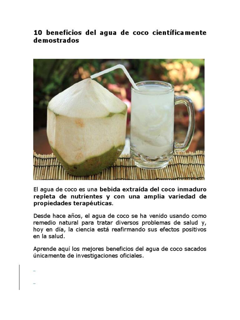 propiedades del coco de agua