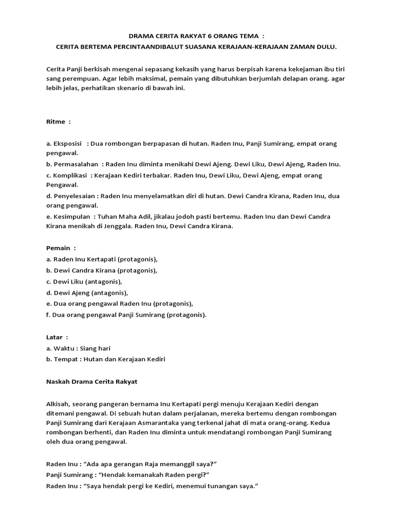 Contoh Naskah Drama 6 Orang Tema Kerajaan MAGnet AUDIO