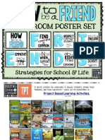 How to Be a Friend Classroom Poster Set With Strategies for School