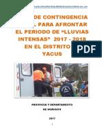 Plan de Contingencia de Lluvias - YACUS 2017-2018.