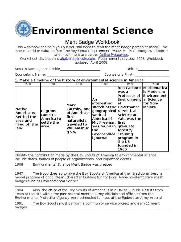 worksheet Merit Badge Worksheets Answers environmental science bioinformatics water pollution