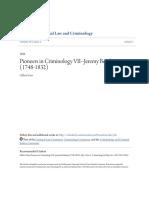 Pioneers in Criminology VII--Jeremy Bentham (1748-1832)