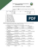 3rd Quarterly Examination Grade-7