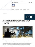A Short Introduction to SAP HANA