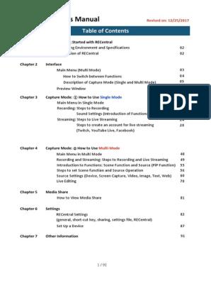 RECentral User's Manual (Avermedia Capture) | Streaming Media | H