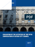 Evaluation of the Activities of the Fifth Convocation of Kutaisi City Council