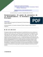 Termoeconomia. El Punto de Encuentro de La Termodinamica, La Economia y La Ecologia