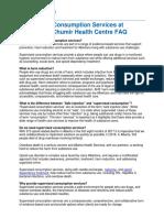 Supervised Consumption Services at Sheldon M. Chumir Health Centre FAQ
