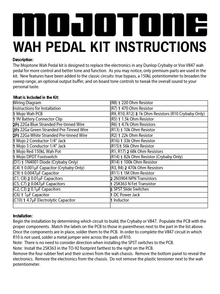 Mojo Wah Pedal Kit Instructions Printed Circuit Board Electrical Re Buffer Circuits Connector