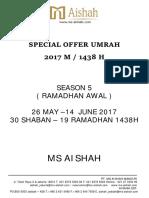 Special Offer Umrah 1438h Season 5 (Ramadhan Awal)