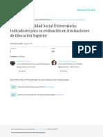 (Aristimuño, Rodriguez, Guaita, 2011) La Responsabilidad Social Universitaria. Indicadores Para Su Evaluación en Instituciones de Educación Superior