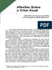 Reflexões Sobre a Crise Atual