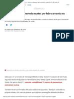 Sobe Para 21 o Número de Mortes Por Febre Amarela No Estado de SP _ São Paulo _ G1