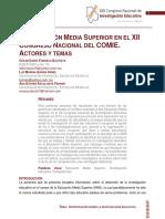 La Educacion Media Superior en El Xii Congreso Nacional Del Comie. Actores y Temas