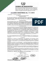 Acuerdo 111-2018 Ministerio de Educacion