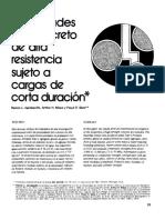 4 Propiedades Del Concreto de Alta Resistencia Sujeto a Cargas de Corta Duracion