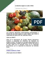 Alimentos Antioxidantes Según Su Valor ORAC