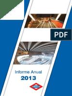 Informe Anual de Gestión de Metro Madrid 2013