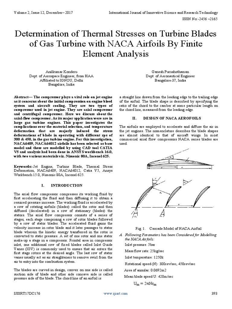 Determination of Thermal Stresses on Turbine Blades