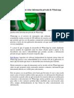 Así Es Como Pueden Robar Información Privada de WhatsApp