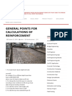 General Points for Calculations of Reinforcement