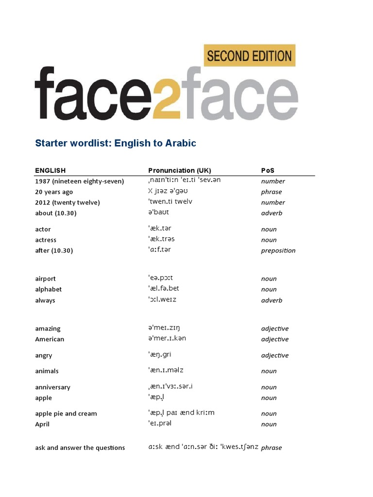 Face2face 2 Starter Wordlist Arabic 1