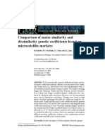 Comparison of Maize Similarity and Dissimilarity Genetic Coefficients Based on Microsatellite Markers