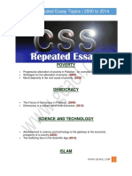 CSS Repeated Essay Topics 2000 to 2014 Gcaol.com