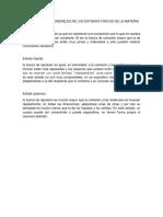 Caracteristias Generales de Los Estados Fisicos de La Materia