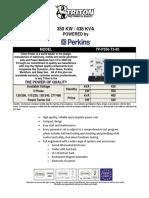 350 KW Perkins Diesel Generator Set - EPA TP-P350-T3-60
