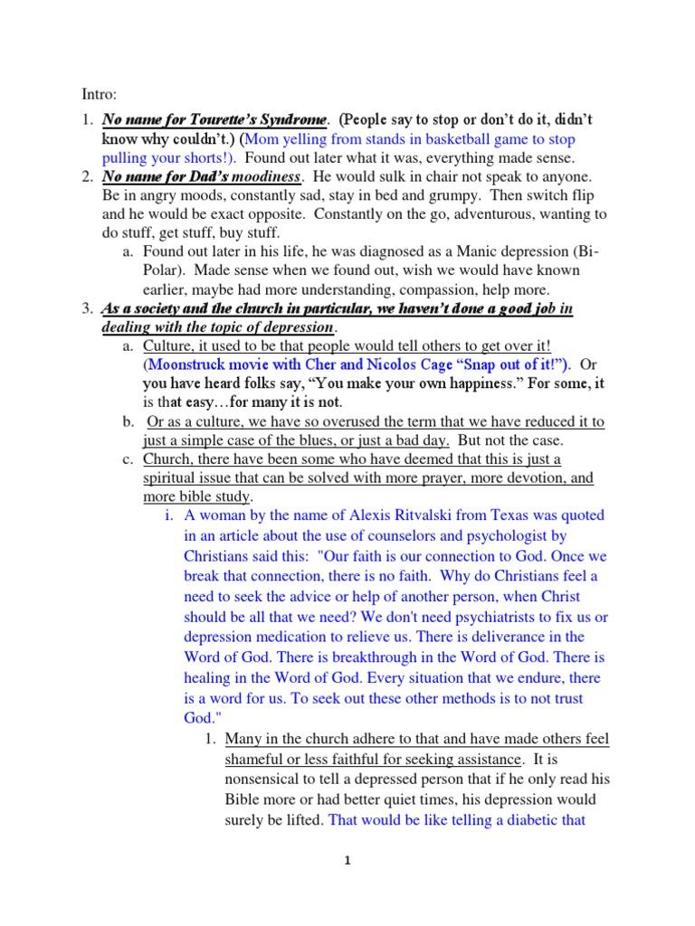 Depression Sermon | Elijah | Major Depressive Disorder