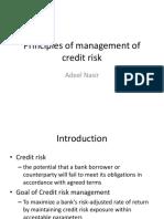 Principles for Management of Credit Risk