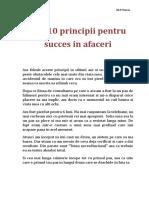 Cele 10 Principii Pentru Succes in Aface